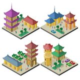 Placez des paysages urbains isom?triques avec les b?timents et l'infrastructure de l'Asie de l'Est illustration de vecteur