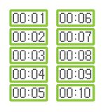 Placez des pendules à lecture digitale vert clair montrant d'une minute à dix minutes illustration de vecteur