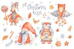 Placez des personnages de dessin animé mignons de Hygge de Noël - gnome, esprit de fille illustration de vecteur