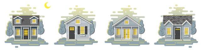 Placez des petites maisons et du beau fond rural de scène de nuit de paysage dans plat style de schéma image stock