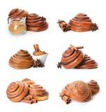 Placez des petits pains et des ingrédients de cannelle délicieux doux images stock