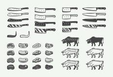 Placez des rétros éléments de BBQ de boucherie de cru Peut être employé pour des logos, emblèmes, insignes, labels L'industrie gr illustration stock