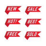 Placez des rubans promotionnels rouges illustration libre de droits