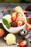 Placez des scoops de crème glacée de différentes couleurs et saveurs avec des baies et des fruits photo stock