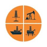 Placez des signes graphiques de forage en mer terrestre et pour l'huile et g illustration de vecteur