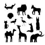 Placez des silhouettes animales d'isolement illustration stock