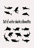 Placez des silhouettes de requins de vecteur illustration stock
