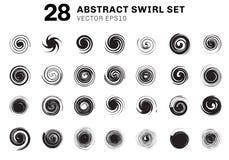 Placez des spirales et de la collection noires abstraites d'éléments de mouvement de remous sur le fond blanc Vous pouvez employe illustration de vecteur