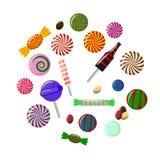 Placez des sucreries douces de lollypop d'isolement sur le fond blanc Shocolate, fruit, bonbons à kola Éléments de dessert Enfanc illustration libre de droits