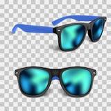 Placez des sunglass réalistes avec la lentille bleue d'isolement sur le backgroud Illustration de vecteur illustration de vecteur