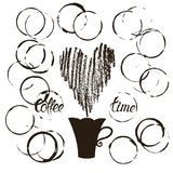 Placez des taches grunges de tasse de café illustration de vecteur