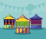 Placez des tentes de cirque avec des jeux illustration stock