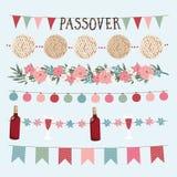 Placez des vacances juives tirées par la main Pesach, guirlandes de pâque avec des lumières, drapeaux d'étamine de partie Bannièr image stock