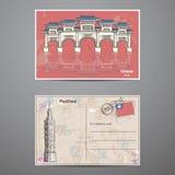 Placez deux côtés d'une carte postale avec les attractions de Taiwans d'image Image stock