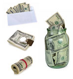 Placez 100 dollars de billets de banque Image libre de droits