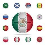 Placez du ballon de football réaliste peint dans le drapeau national du Mexique pour des applis mobiles de concept et de Web Illu illustration stock