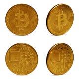 Placez du bitcoin d'or d'isolement sur le fond blanc photographie stock libre de droits
