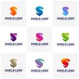 Placez du bouclier initial Logo Design Concepts de S Conception d'illustration de vecteur de bouclier de lettre de S Symbole d'ic illustration stock