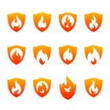 Placez du bouclier Logo Design Vector Template du feu Le feu Logo Concept de bouclier Symbole d'ic?ne illustration de vecteur