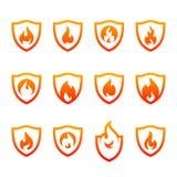 Placez du bouclier Logo Design Vector Template du feu Le feu Logo Concept de bouclier Symbole d'ic?ne illustration libre de droits