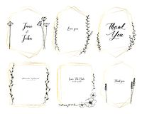 Placez du cadre géométrique, fleurs tirées par la main, la composition botanique, élément décoratif pour la carte de mariage, inv illustration libre de droits