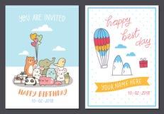 Placez du calibre mignon de design de carte d'anniversaire illustration de vecteur