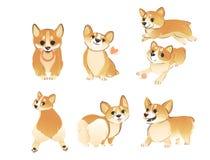 Placez du chien de corgi de Gallois se tenant et se reposant dans le style différent de bande dessinée de poses illustration stock