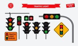 Placez du feu de signalisation réaliste facile à modifier illustration de vecteur