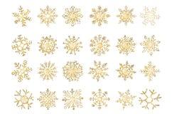 Placez du flocon d'or de flocons de neige de vecteur du gradient de neige illustration libre de droits