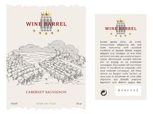 Placez du label, de l'avant et du dos de vin de vecteur photos stock