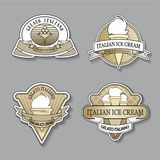 Placez du logo d'or de magasin de crème glacée dans le style de cru Illustration de vecteur illustration de vecteur