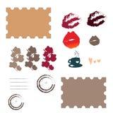 Placez du ressort et avec des timbres-poste d'amour illustration de vecteur