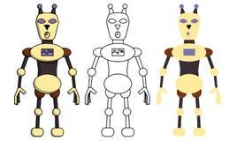 Placez du robot dans le style différent Illustration courante d'isolement de vecteur illustration de vecteur