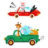 Placez du transport d'enfants avec le lama, la girafe, l'éléphant et le potiron images stock