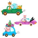 Placez du transport d'enfants avec le lama, la girafe, l'éléphant et le potiron photos stock
