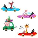 Placez du transport d'enfants avec le lama, la girafe, les cerfs communs, la pastèque et les cadeaux images stock