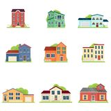 Placez du type différent de maison en appartement de village ou de ville illustration stock