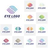 Placez du vecteur de concept de construction de logo d'oeil, calibre de logo d'oeil, symbole d'icône illustration de vecteur