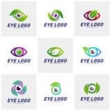 Placez du vecteur de concept de construction de logo d'oeil de nature, oeil avec le calibre de logo de feuille, symbole d'icône illustration libre de droits