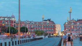 Placez jour carré de Massena le beau au timelapse de nuit, la Côte d'Azur, ` Azur, France de Cote d banque de vidéos