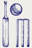 Placez l'équipement pour le cricket Images libres de droits