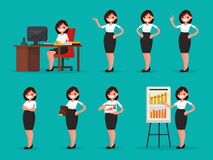 Placez l'employé de bureau de femme dans diverses situations Illustrati de vecteur illustration de vecteur