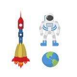 Placez l'espace : astronaute, la terre de planète, fusée Illustration de vecteur illustration stock
