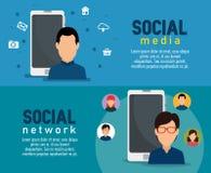 Placez l'homme avec la technologie de smartphone aux médias sociaux illustration de vecteur