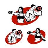 Placez l'homme et la femme du logo de forme physique Images libres de droits