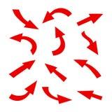 Placez l'icône de flèche Signe rouge différent de flèches Éléments pour le vecteur infographic de _ illustration libre de droits