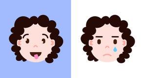 Placez l'icône principale de personnalité d'emoji de fille avec le visage facial d'émotions, de caractère d'avatar, smilling et p illustration stock