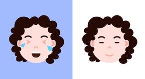 Placez l'icône principale de personnalité d'emoji de fille avec les émotions, le caractère d'avatar, le sommeil et le visage faci illustration stock