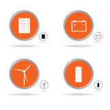 Placez l'icône d'énergie dans le vecteur orange de cercle Image stock