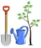 Placez l'instrument de jardin avec l'arbre Illustration Libre de Droits